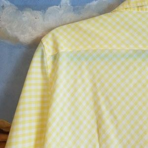 Westbound Tops - Westbound Yellow Checked Button Up Blouse Med